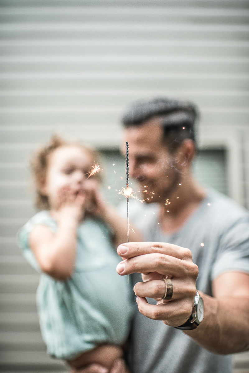 child and dad with spark
